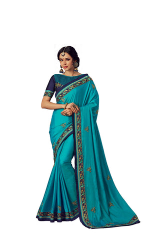 Blue Poly Silk Heavy Designer Saree Sari