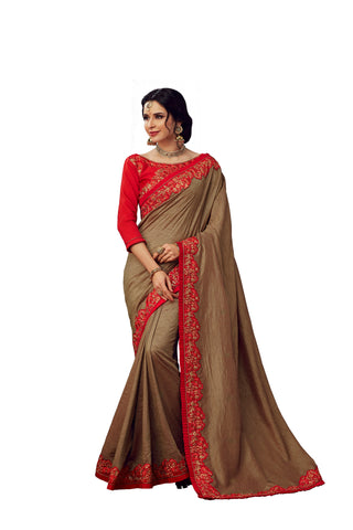 Brown Poly Silk Heavy Designer Saree Sari