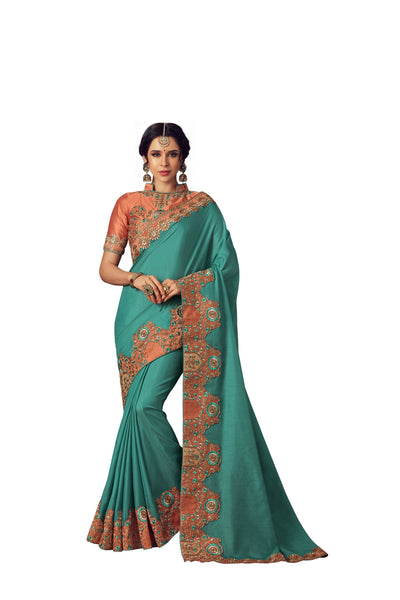Turquoise Blue Poly Silk Heavy Designer Saree Sari