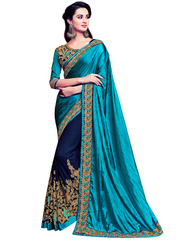 Dark Cyan & Violet Georgette Two-Tone Silk Fancy Designer Saree Sari