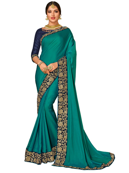 Green Satin Silk Fancy Designer Saree Sari