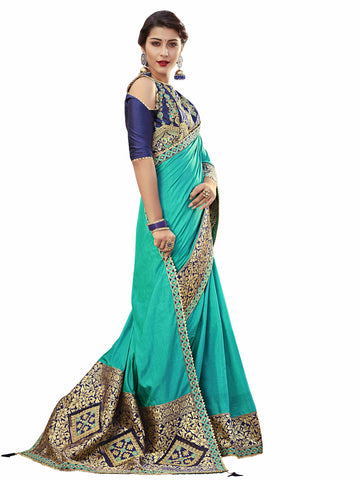 Green Silk Fabrics Heavy Designer Saree Sari