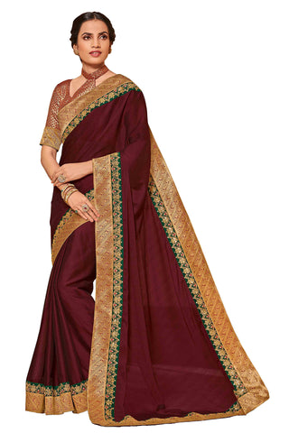 Coffee Chiffon Fancy Designer Saree Sari