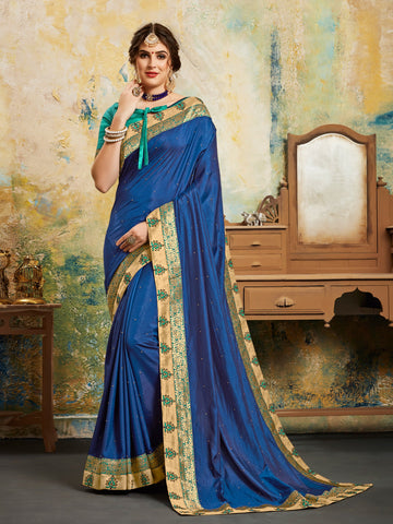 Blue Poly Silk Fancy Designer Saree Sari
