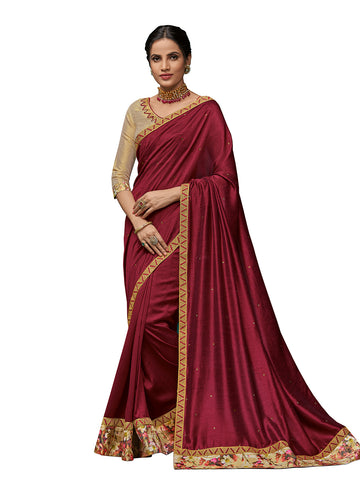 Burgundy Poly Silk Fancy Designer Saree Sari