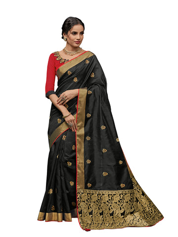 Black Poly Silk Fancy Designer Saree Sari