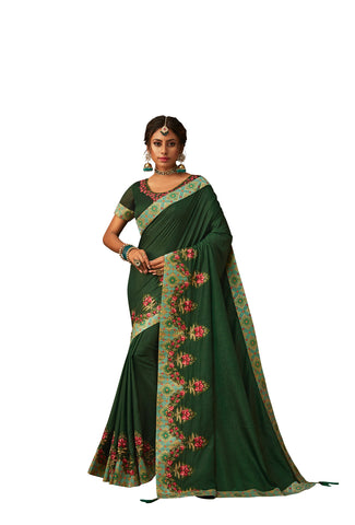Emerald Green Poly Silk Heavy Designer Saree Sari