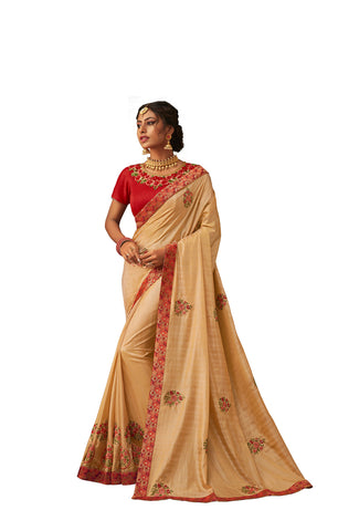 Gold Poly Silk Heavy Designer Saree Sari