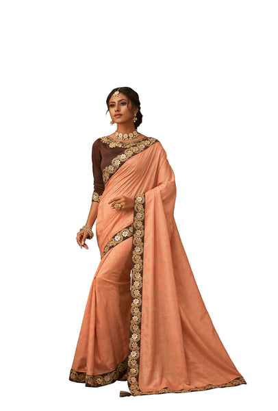 Orange Poly Silk Heavy Designer Saree Sari