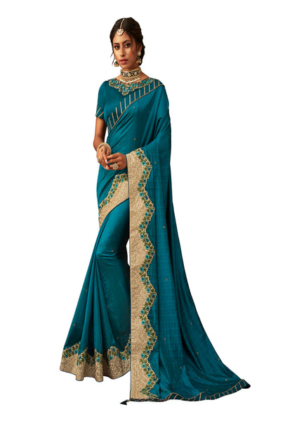 Teal Blue Poly Silk Heavy Designer Saree Sari
