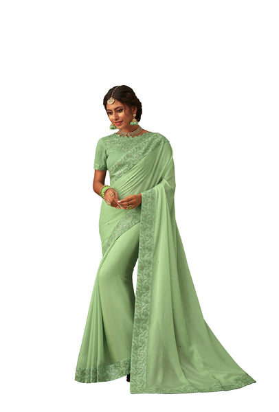 Green Poly Silk Heavy Designer Saree Sari