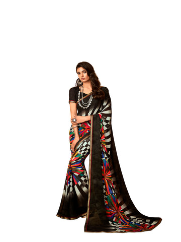 Black Georgette Fancy Designer Saree Sari