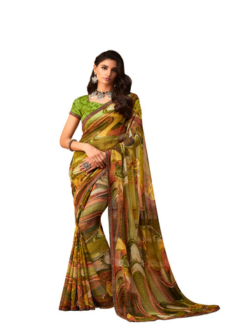 Green Georgette Fancy Designer Saree Sari