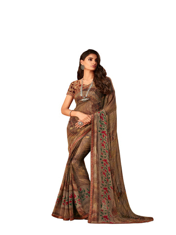 Brown Georgette Fancy Designer Saree Sari
