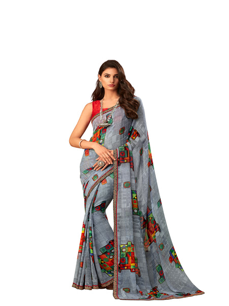 Grey Georgette Fancy Designer Saree Sari