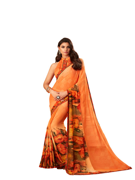 Orange Georgette Fancy Designer Saree Sari