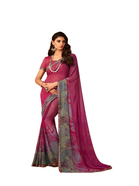 Pink Georgette Fancy Designer Saree Sari