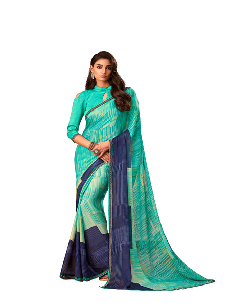 Turquoise Blue Georgette Fancy Designer Saree Sari