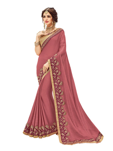 Dark Red Two Tone Chiffon Heavy Border Embellished Designer Saree Sari