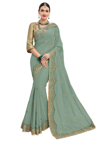 Green & Gold Georgette Heavy Embroidered Designer Saree Sari