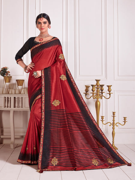 Red Poly Silk Embroidered Fancy Designer Saree Sari