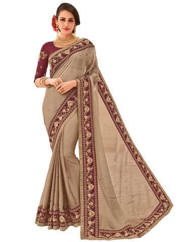 Brown Two Tone Chiffon Embroidered Beautiful Floral Stone Designer Saree Sari