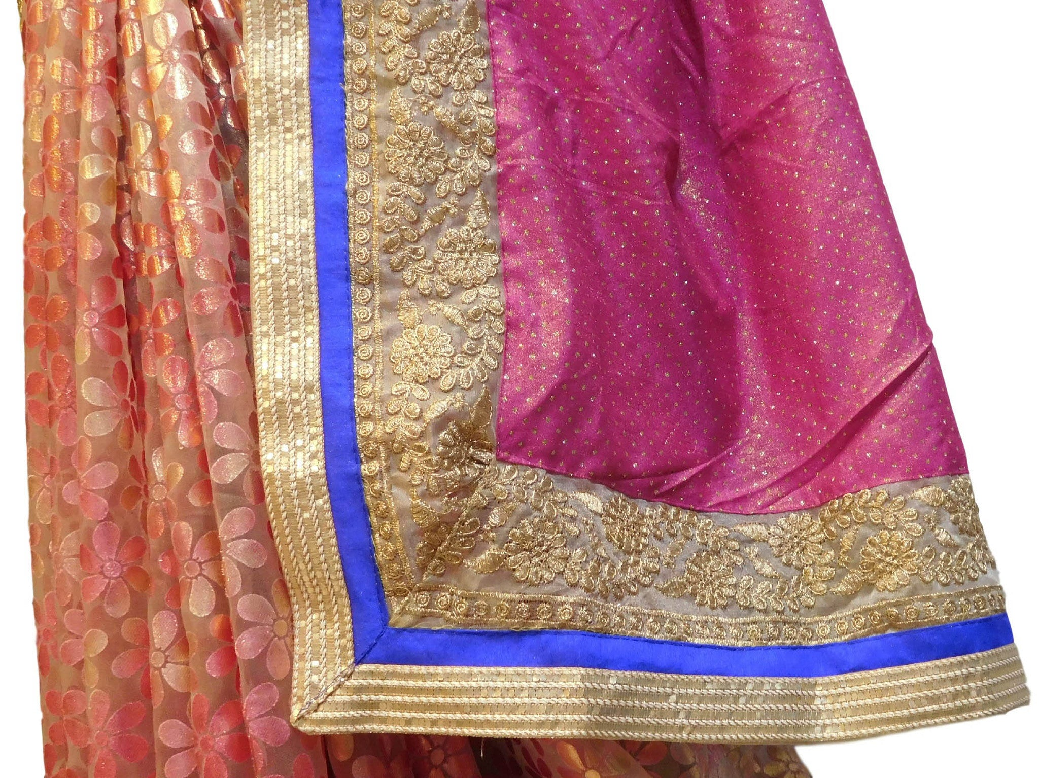 Pink Designer Georgette & Brasso Saree With Stylish Blouse