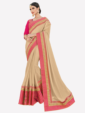 Beige Two-Tone Silk Embroidered Stone Work Floral Designer Saree Sari