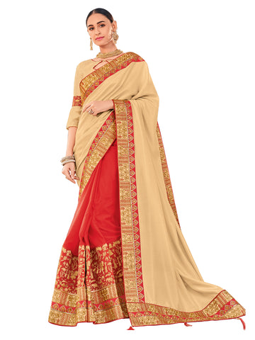 Beige & Red Silk Fabrics Embroidered Stone Work Floral Designer Saree Sari