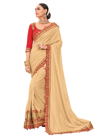 Beige Satin Silk Embroidered Stone Work Floral Designer Saree Sari