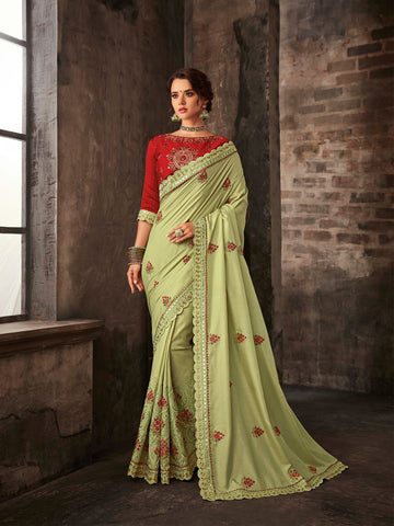 Lemon Green Poly Silk Embroidered Heavy Work Saree Sari