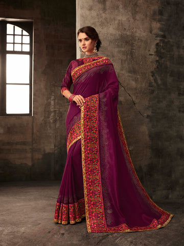 Burgundy Poly Silk Embroidered Heavy Work Saree Sari