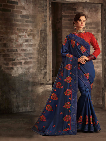 Navy Blue Poly Silk Embroidered Heavy Work Saree Sari