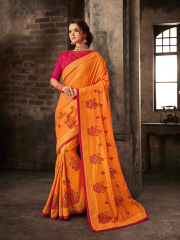 Orange Poly Silk Embroidered Heavy Work Saree Sari