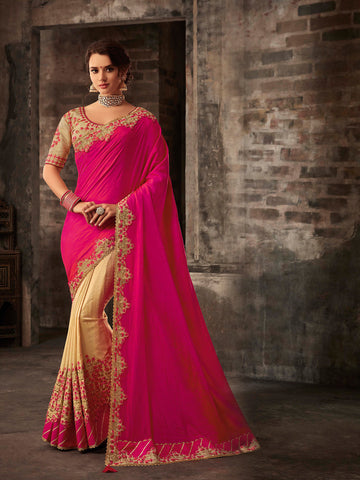 Pink & Gold Poly Silk Embroidered Heavy Work Saree Sari