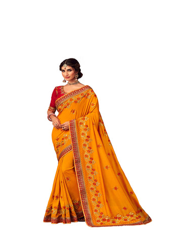 Mustard Poly Silk Heavy Embroidered Work Designer Saree Sari