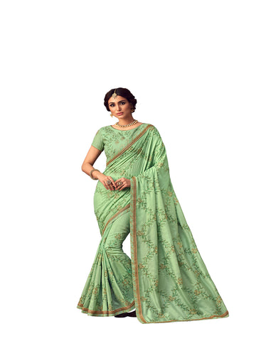 Green Poly Silk Heavy Embroidered Work Designer Saree Sari