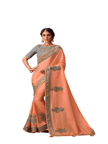 Peach Poly Silk Heavy Embroidered Work Designer Saree Sari
