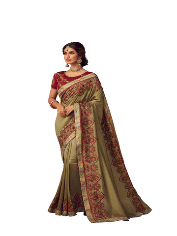 Olive Poly Silk Heavy Embroidered Work Designer Saree Sari