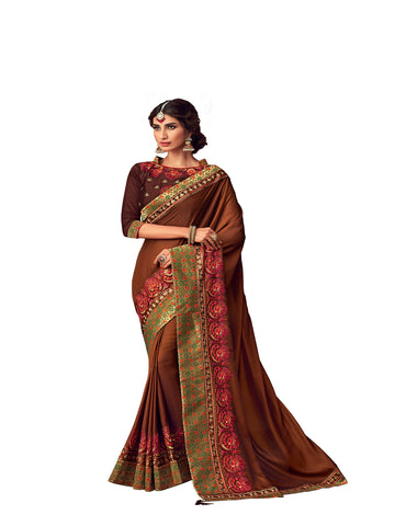 Brown Poly Silk Heavy Embroidered Work Designer Saree Sari