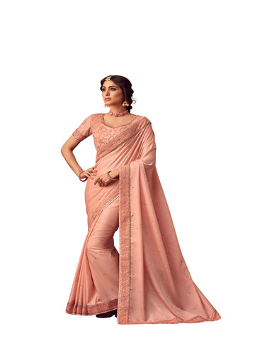 Pink Poly Silk Heavy Embroidered Work Designer Saree Sari