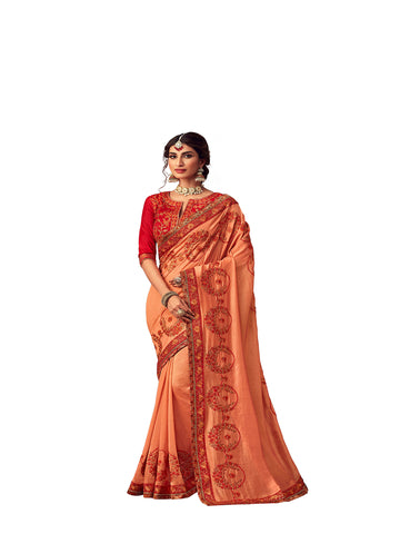 Orange Poly Silk Heavy Embroidered Work Designer Saree Sari
