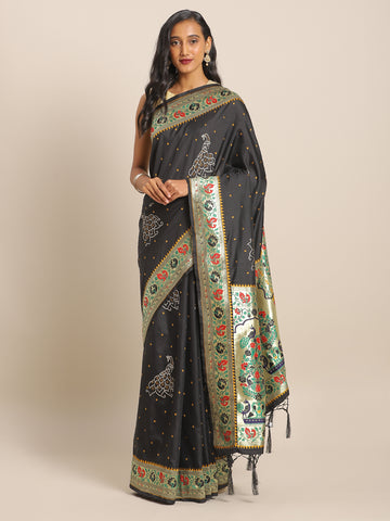 Deep Grey Jacquard Silk Heavy Work Designer Banarasi Saree Sari