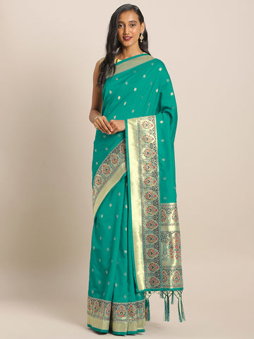 Sea Green Jacquard Silk Heavy Work Designer Banarasi Saree Sari