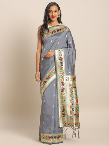 Grey Jacquard Silk Heavy Work Designer Banarasi Saree Sari
