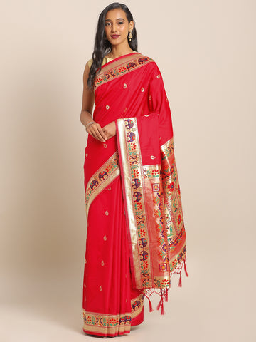 Red Jacquard Silk Heavy Work Designer Banarasi Saree Sari