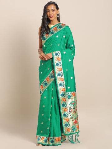 Green Jacquard Silk Heavy Work Designer Banarasi Saree Sari