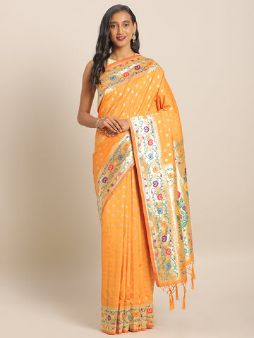 Golden Yellow Jacquard Silk Heavy Work Designer Banarasi Saree Sari