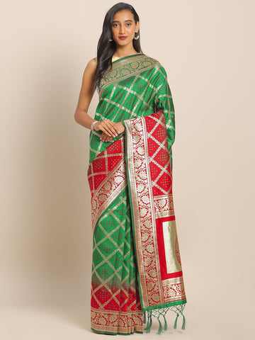 Green & Red Jacquard Silk Heavy Work Designer Banarasi Saree Sari