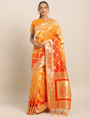Yellow & Orange Jacquard Silk Heavy Work Designer Banarasi Saree Sari